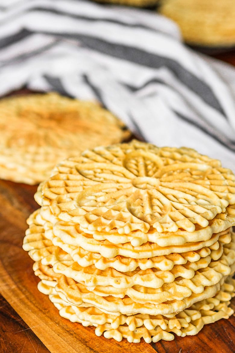 pizzelle cookie recipe Italian waffle cookies stacked up