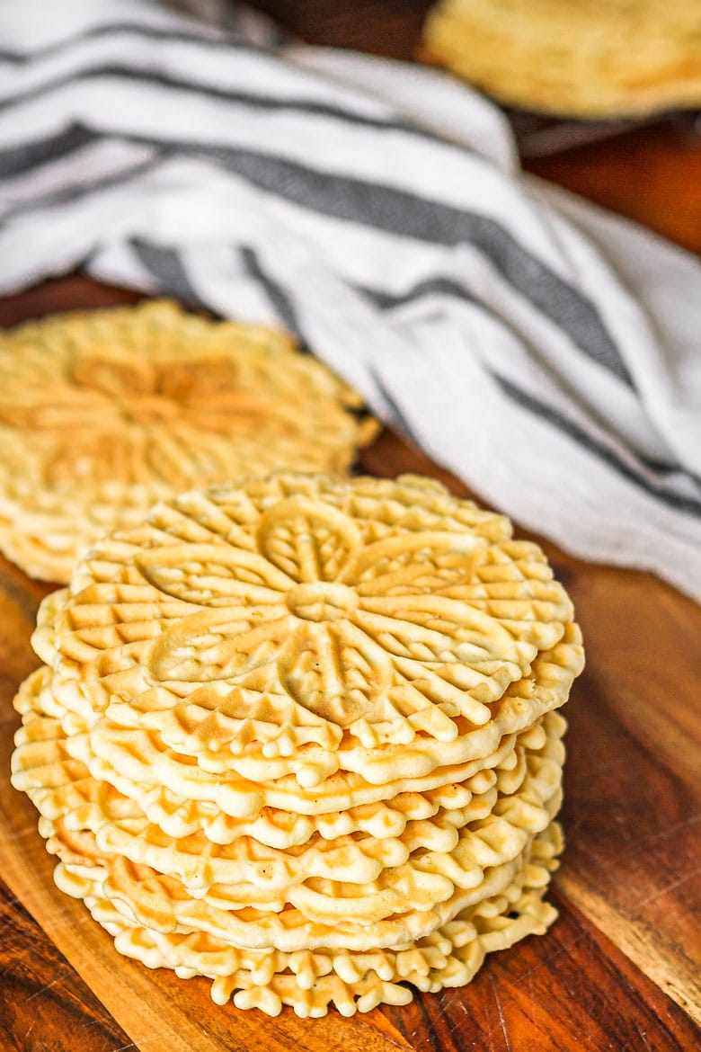 pizzelle cookies in a vertical stack