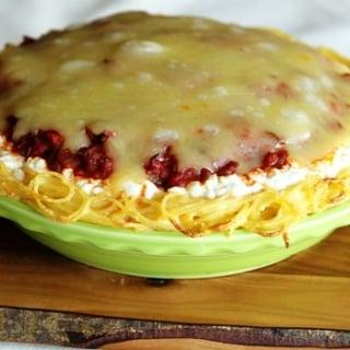 Italian Sausage Spaghetti Pie