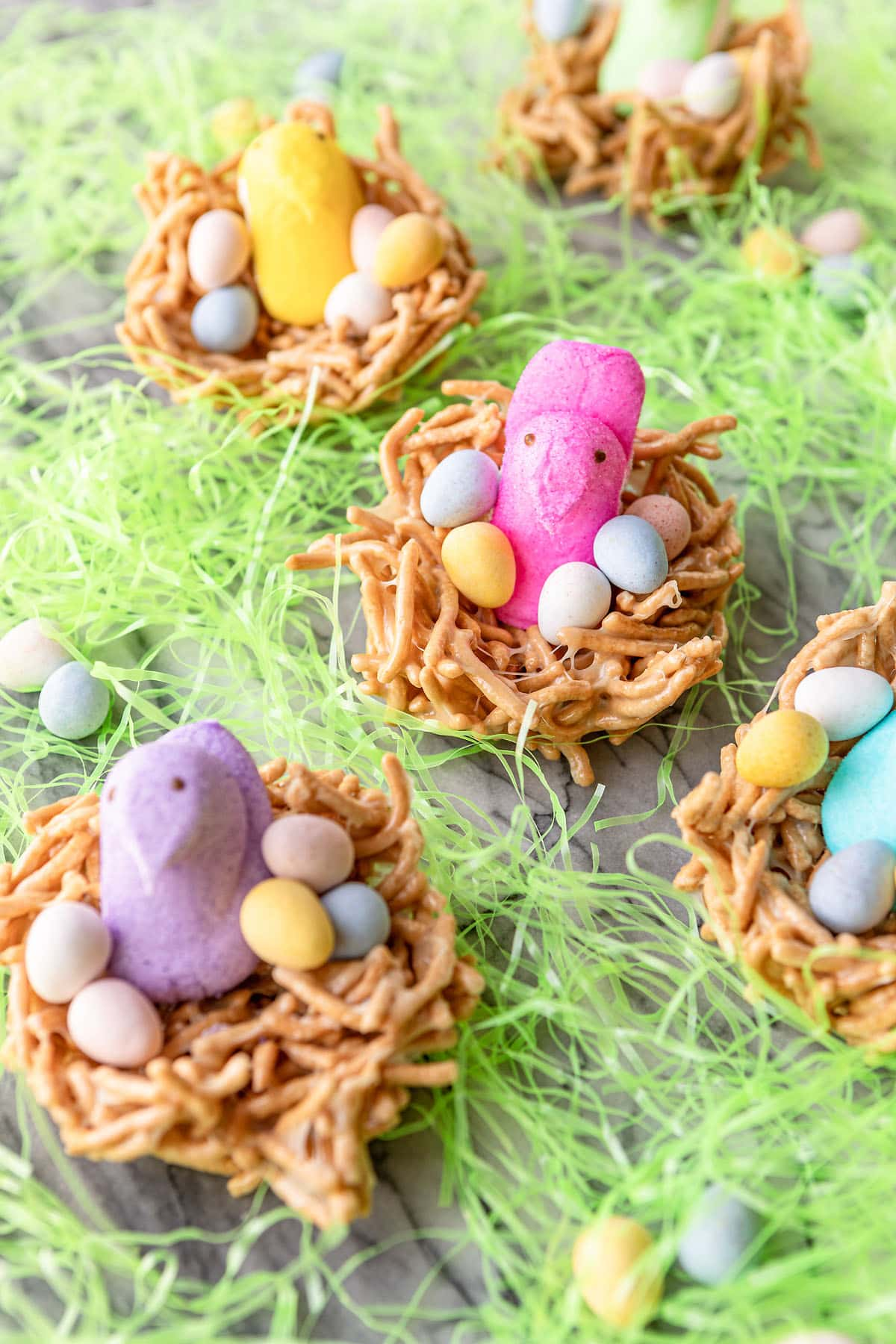 edible bird nests for easter with peeps chicks and candy coated eggs