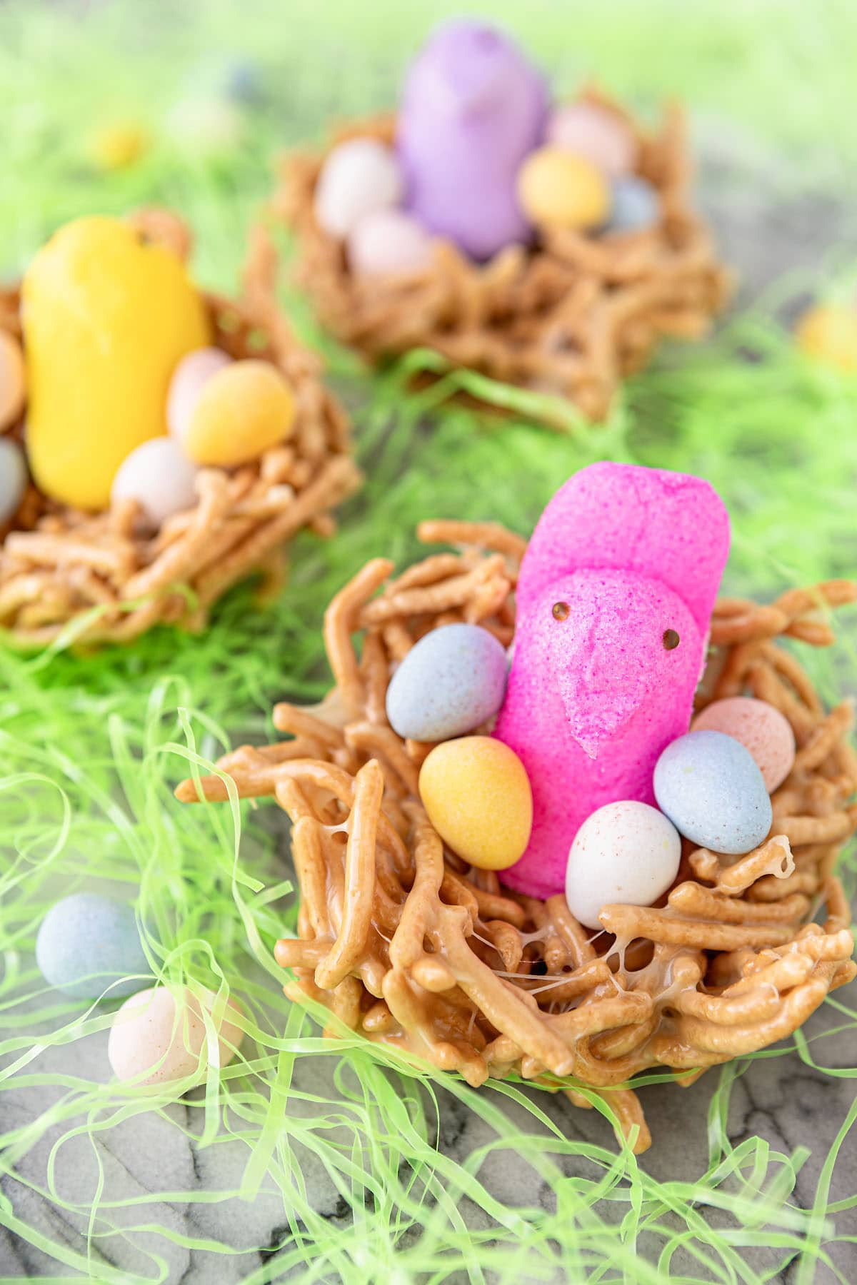 edible birds nests for easter with peeps and candy eggs