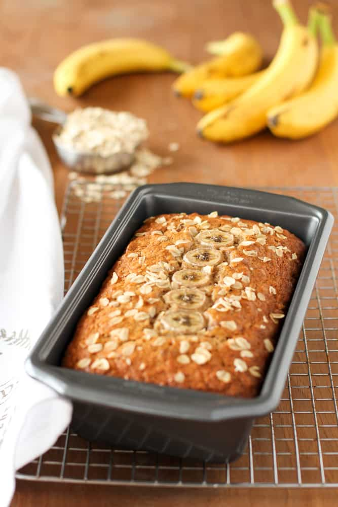 Oatmeal Pecan Banana Bread for National Oatmeal Day ~ Unsophisticook