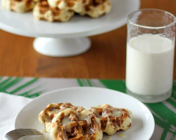 "Easy Cinnamon Roll Waffles with Cream Cheese ""Syrup"""