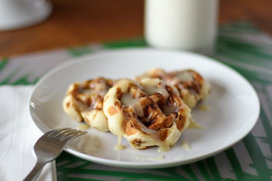 "Cinnamon Roll Waffles with Cream Cheese ""Syrup"""