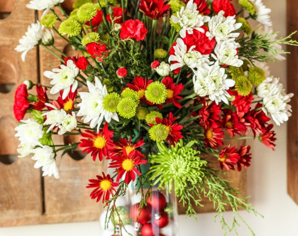 beautiful large christmas flowers arrangement for the holidays