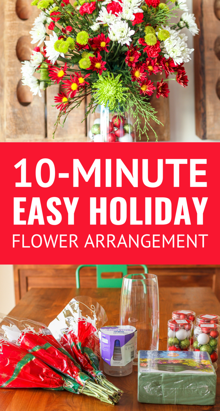 Easy DIY Flower Arrangement -- creating a custom floral arrangement for any occasion is easy with this simple step-by-step process for filling a vase, using wet floral foam, and placing flowers... Perfect for the holidays and beyond! | christmas flowers | holiday floral arrangements | holiday flower arrangements | holiday flowers | holiday floral centerpieces | christmas flower arrangements | christmas floral arrangements #christmas #flowers