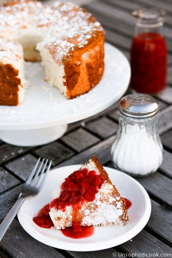 Angel Food Cake with Homemade Strawberry Sauce