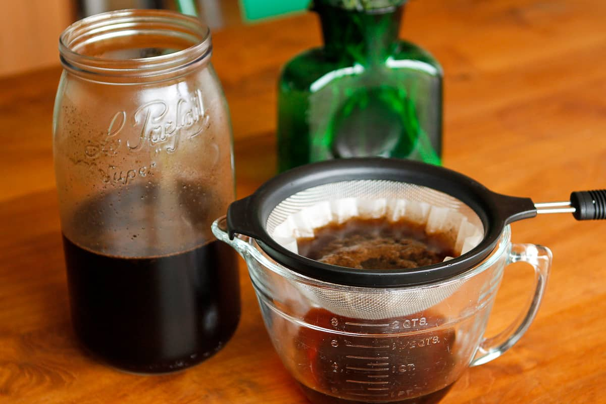 Straining Homemade Iced Coffee