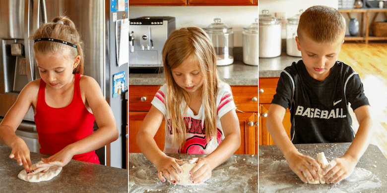 children playing with an easy salt dough recipe