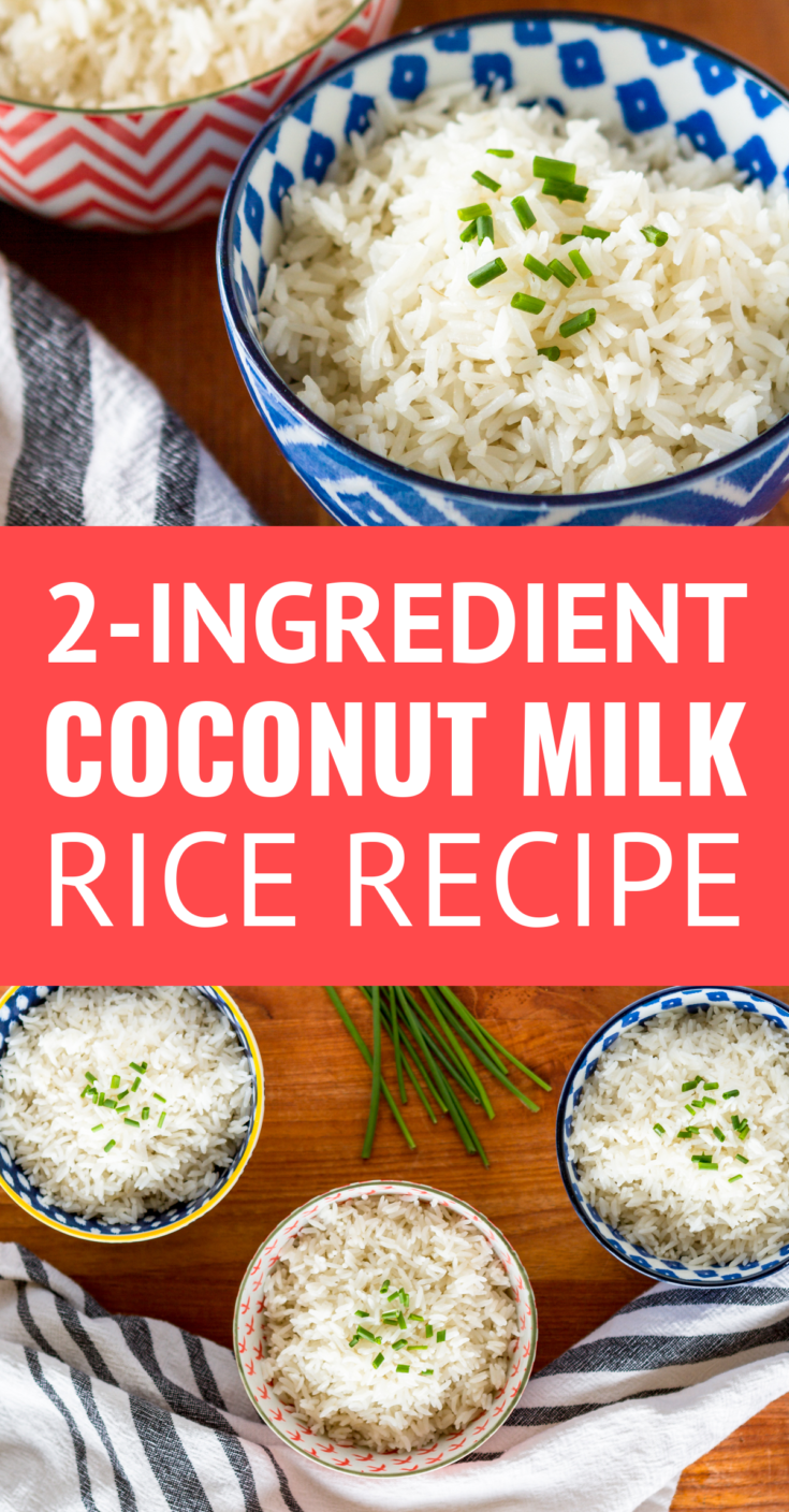 Coconut Milk Rice -- Need an easy weeknight side dish idea? This simple coconut milk rice recipe is a total family favorite. Savory, with a very mild coconut flavor, it's also the perfect base for tacos, fried rice, meal prep bowls and more! | coconut milk rice cooker | coconut lime rice | easy coconut rice | coconut milk rice instant pot | cooking rice in coconut milk | coconut cilantro rice #coconutrice #coconutrecipes #ricecooker #easyrecipe #mealprep #mealprepping