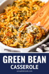 easy green bean casserole recipe made with 3 ingredients