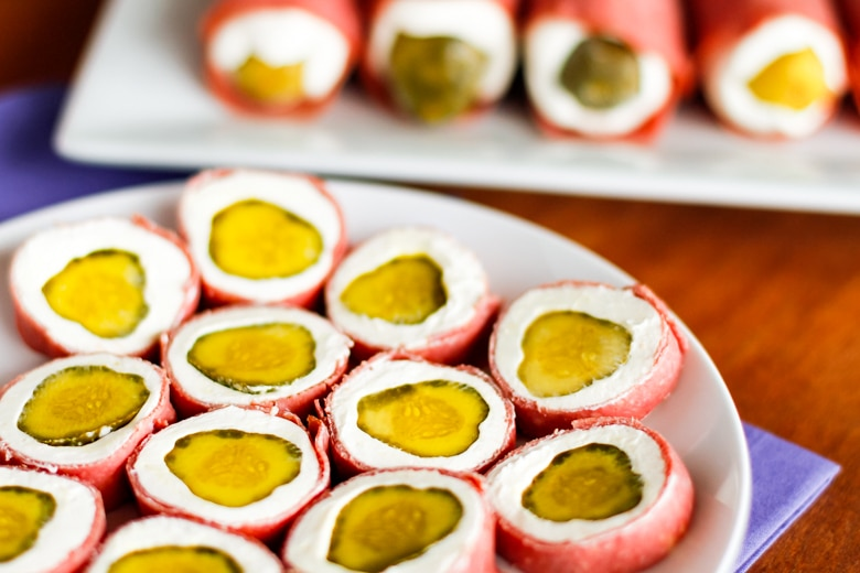 pickle roll ups are dill pickle slices wrapped in cream cheese and dried beef