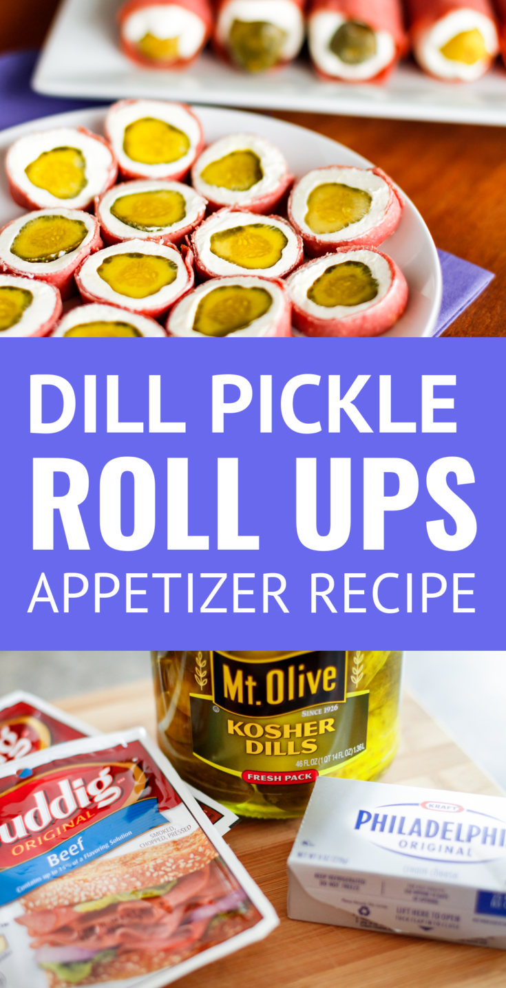 Dill Pickle Wraps Appetizer -- pickle wraps (aka pickle roll ups) are a tasty combination of dill pickles, cream cheese & dried beef or ham... A crowd-pleasing party appetizer idea! | pickle wraps recipe | dill pickle wraps | pickle wraps pinwheels | pickle wraps appetizers | ham pickle roll ups| holiday pickle wraps #appetizers #appetizerseasy #appetizerrecipeswith3ingredients #pickles #easyrecipe #holidayrecipes