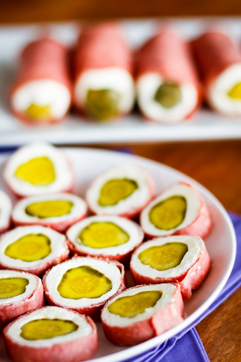 pickle wraps are pickles and cream cheese wrapped in dried beef