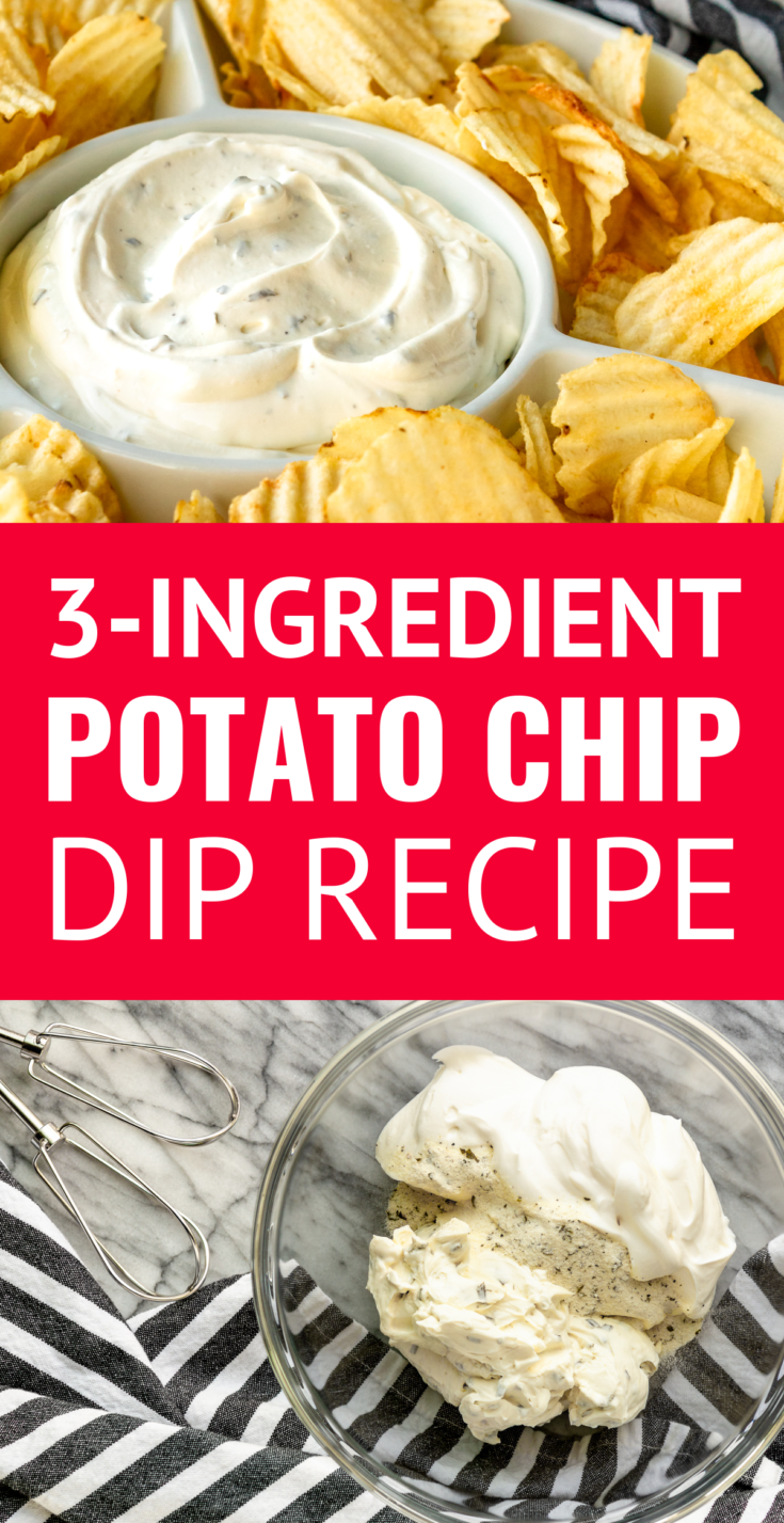 3-Ingredient Potato Chip Dip Recipe -- If you're a chips and dip junkie, you're going to LOVE this out-of-this-world easy chip dip... AND it doubles as a delicious veggie dip! | copycat Lawson's chip dip | chip dip recipes | cream cheese chip dip | homemade chip dip | best chip dip | chip dip for parties #chipdip #easyrecipe #easyapps #appetizerseasy #partyrecipes #appetizerideas #appetizers