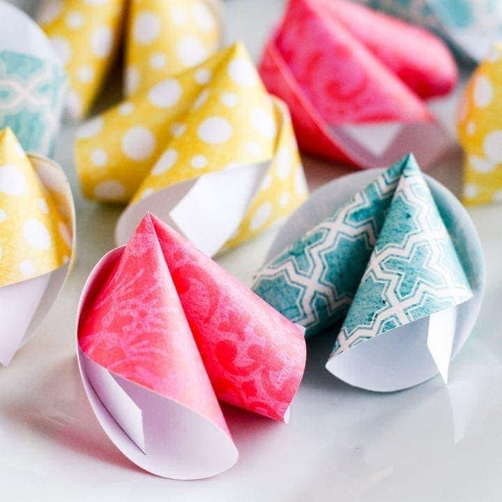 paper fortune cookies made with scrapbook paper