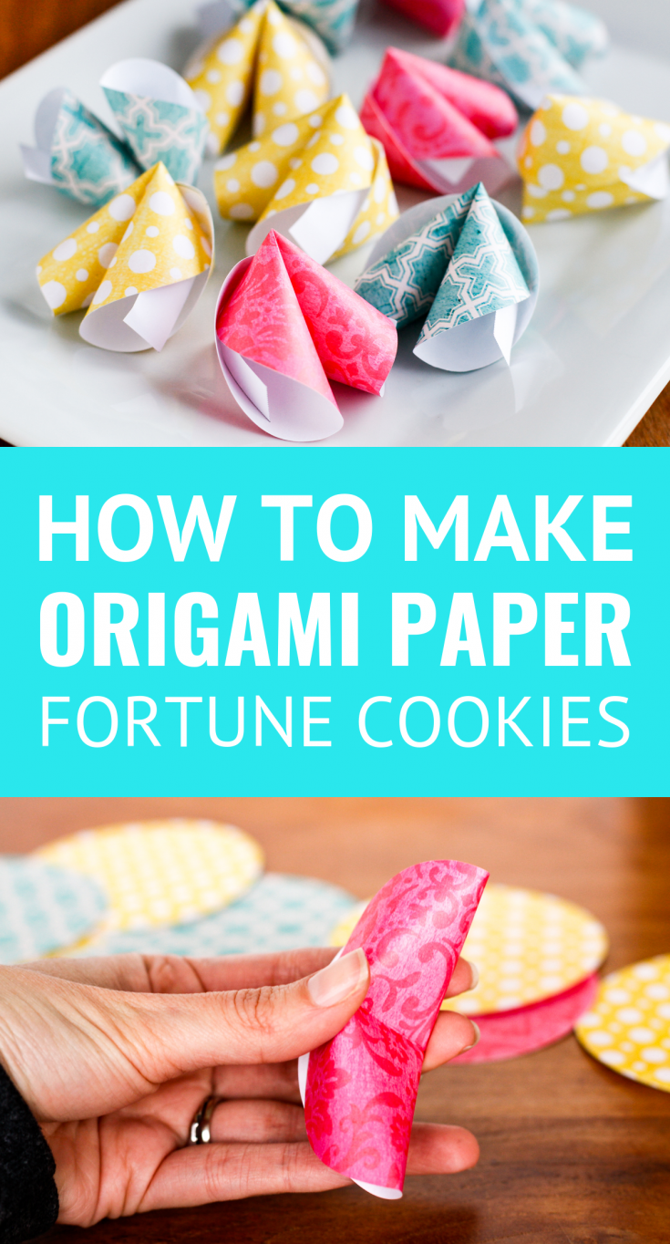 How To Make Paper Fortune Cookies -- These cute DIY paper fortune cookies are super easy to make! Not just for Chinese New Year, they're great for Valentine's Day, wedding favors, birthday parties, and much more... | paper crafts | paper fortune cookie | easy crafts | paper fortune cookie template | fortune cookie origami instructions | find the tutorial on unsophisticook.com #paper #papercrafts #paperart #fortunecookies #craftsforkids #valentinesday #chinesenewyear