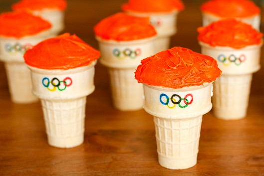 frosted olympic torch cupcakes before fruit roll-ups flames