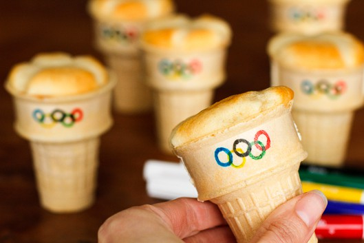 olympic torch cupcakes before frosting