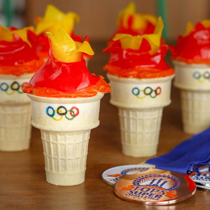 olympic torch cupcakes for olympic theme party