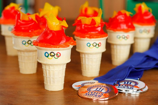 olympic torch cupcakes with fruit roll-up flames