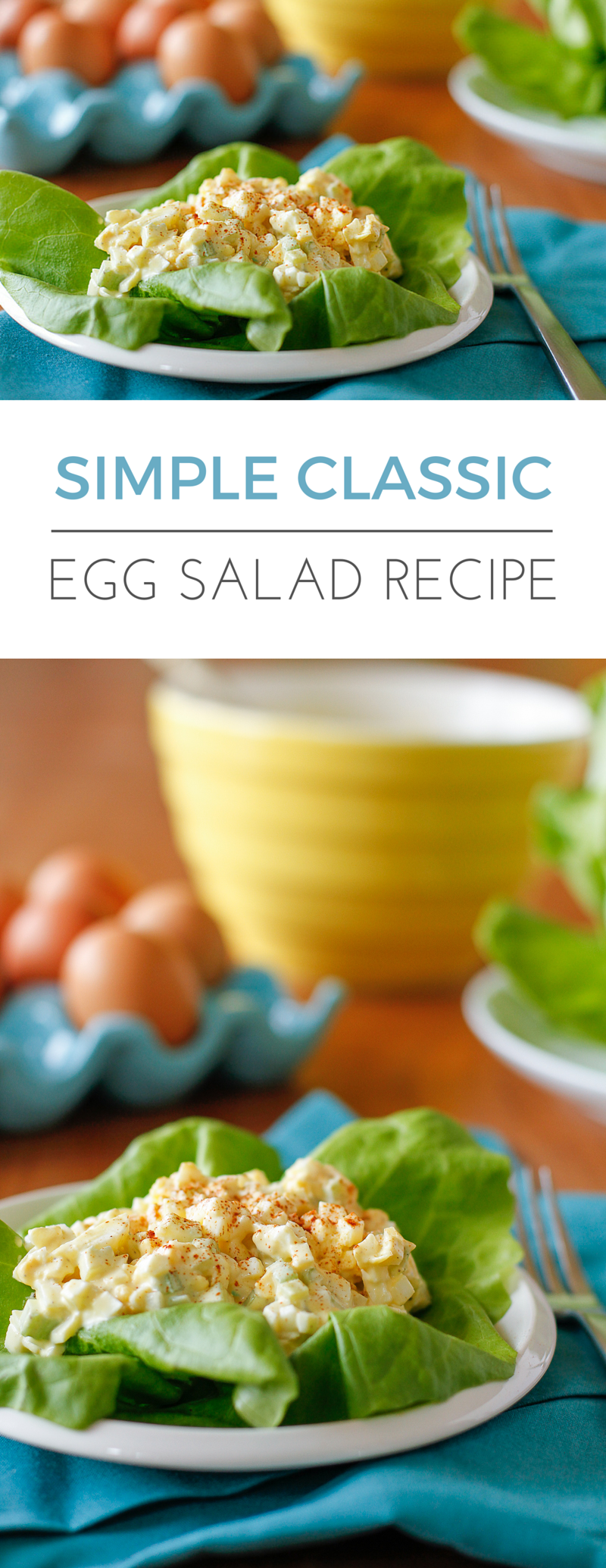 Egg Salad Recipe -- this delicious simple & classic egg salad recipe is the perfect way to use up an overabundance of hard-boiled eggs! | via @unsophisticook on unsophisticook.com