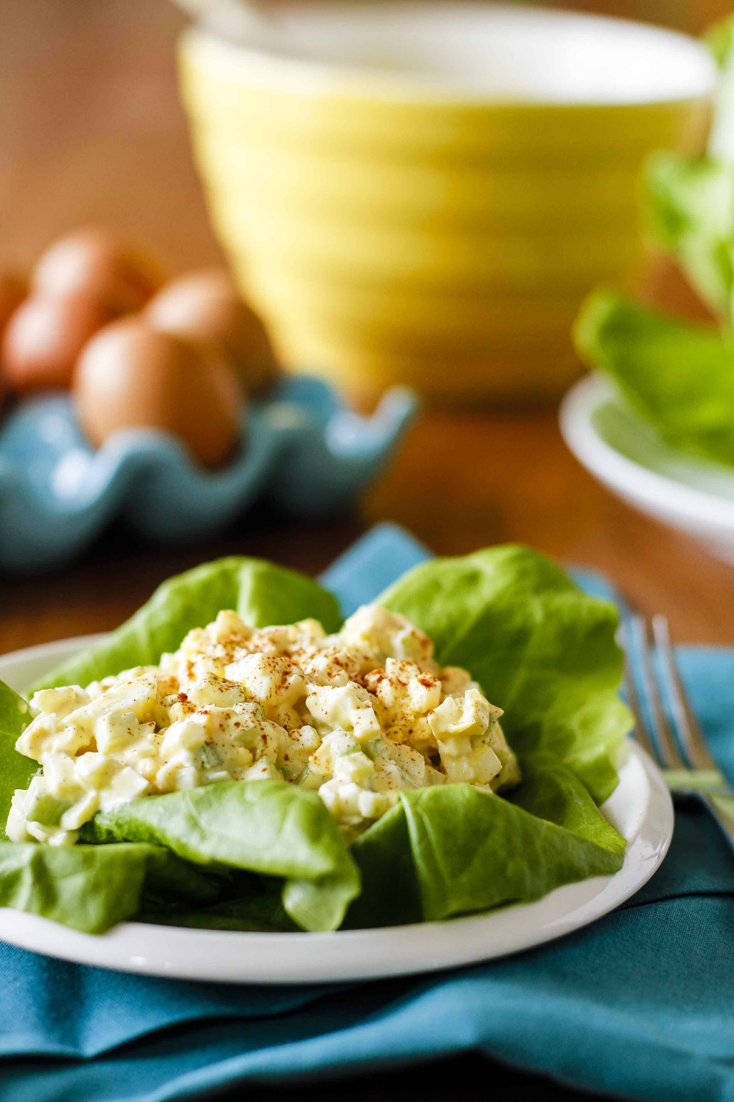 Egg Salad Recipe -- this delicious simple & classic egg salad recipe is the perfect way to use up an overabundance of hard-boiled eggs! | unsophisticook.com