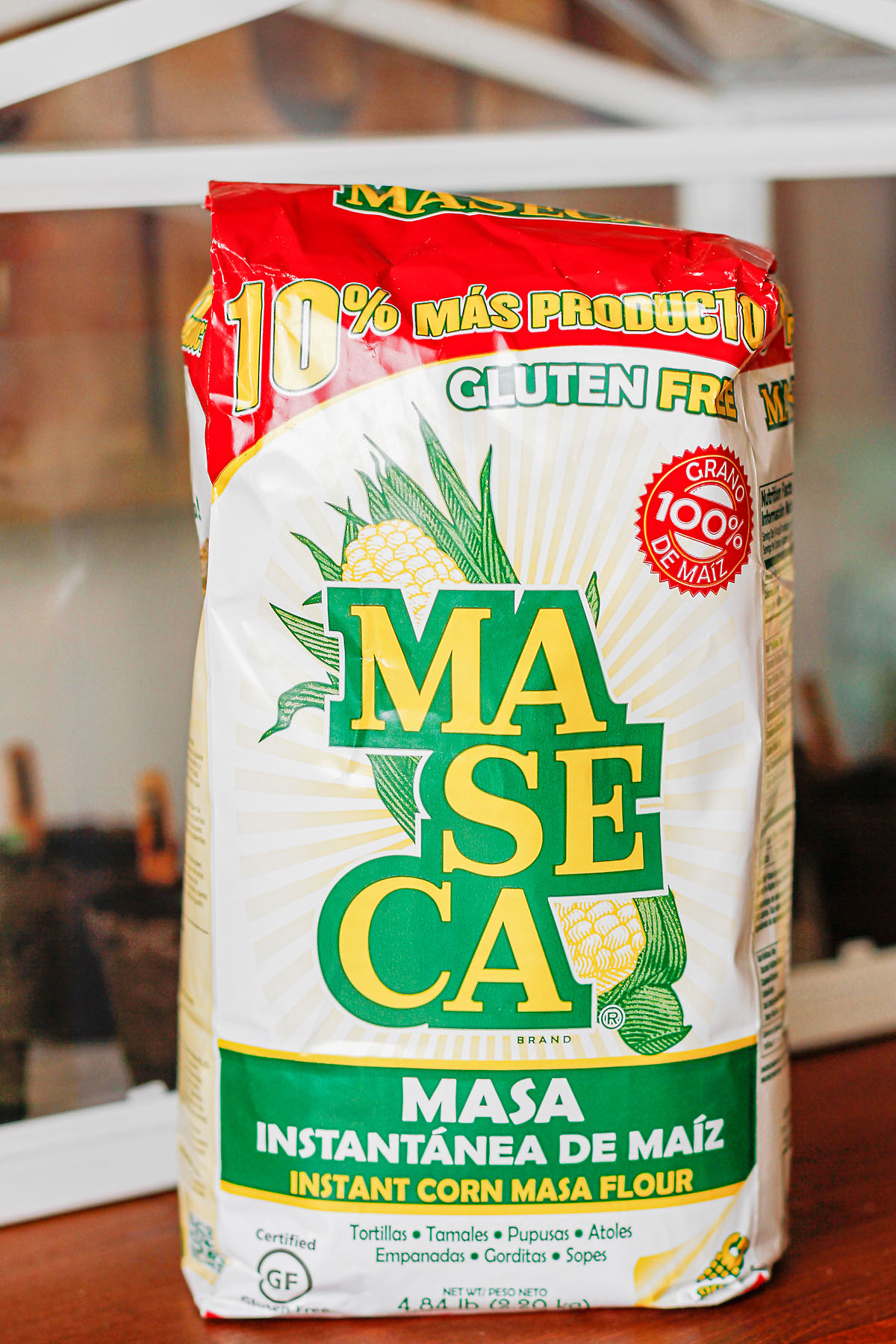 bag of masa harina on counter for Chi-Chi's corn cake