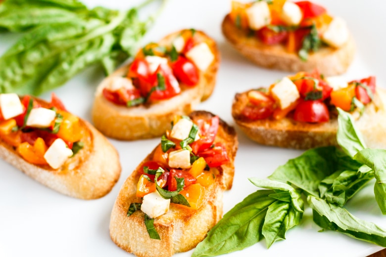 easy bruschetta recipe with caprese topping