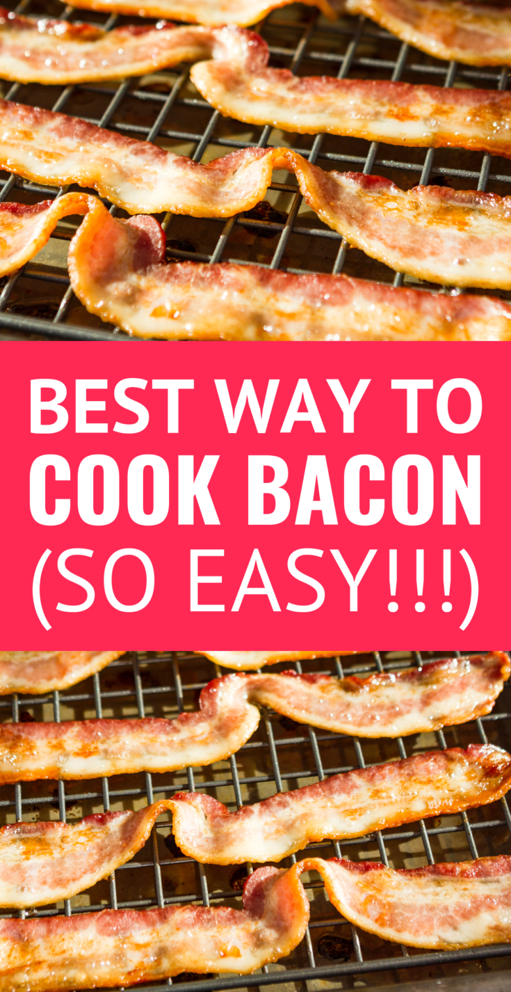 How To Bake Bacon -- oven baked bacon is, hands down, the easiest way to get perfectly crispy and delicious bacon with the least amount of mess. Once you try making bacon in the oven, you'll never cook it any other way... Makes big batches a cinch! | best way to cook bacon | how to cook bacon in the oven | how to make bacon in the oven | baking bacon #bacon #kitchenhacks #easyrecipe #breakfast #breakfastrecipes #momhacks
