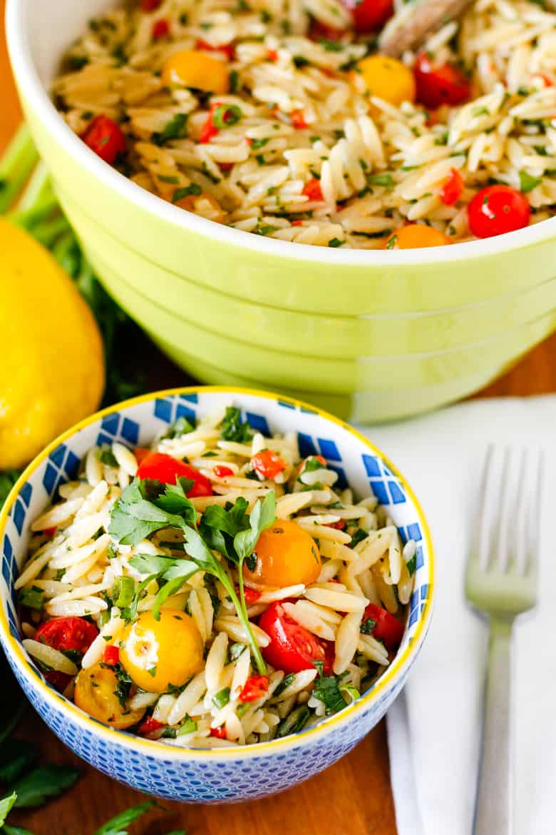 orzo pasta salad packed with veggies