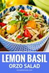 orzo pasta salad with a lemon vinaigrette and fresh basil
