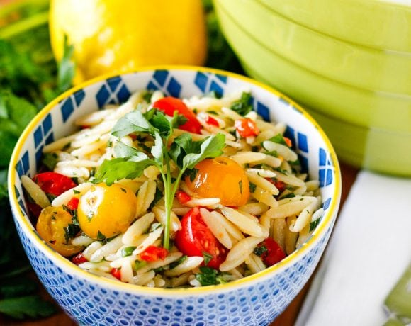 Big Batch Lemony Basil Orzo Pasta Salad