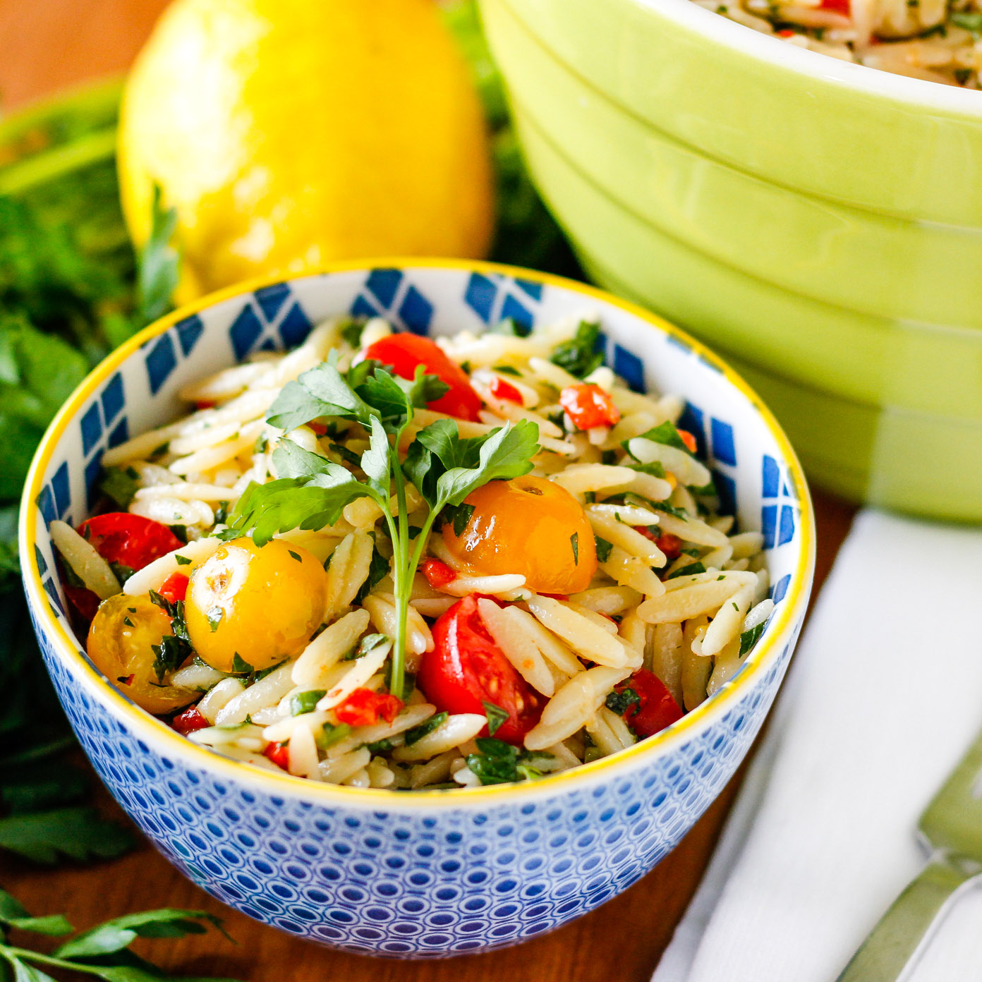 summery orzo salad recipe that makes a big batch for a crowd