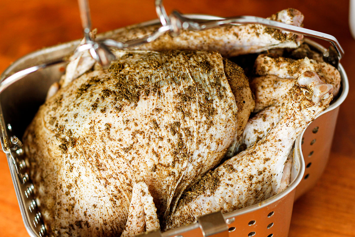 simple fried turkey rub made with poultry seasoning, garlic powder, and salt & pepper