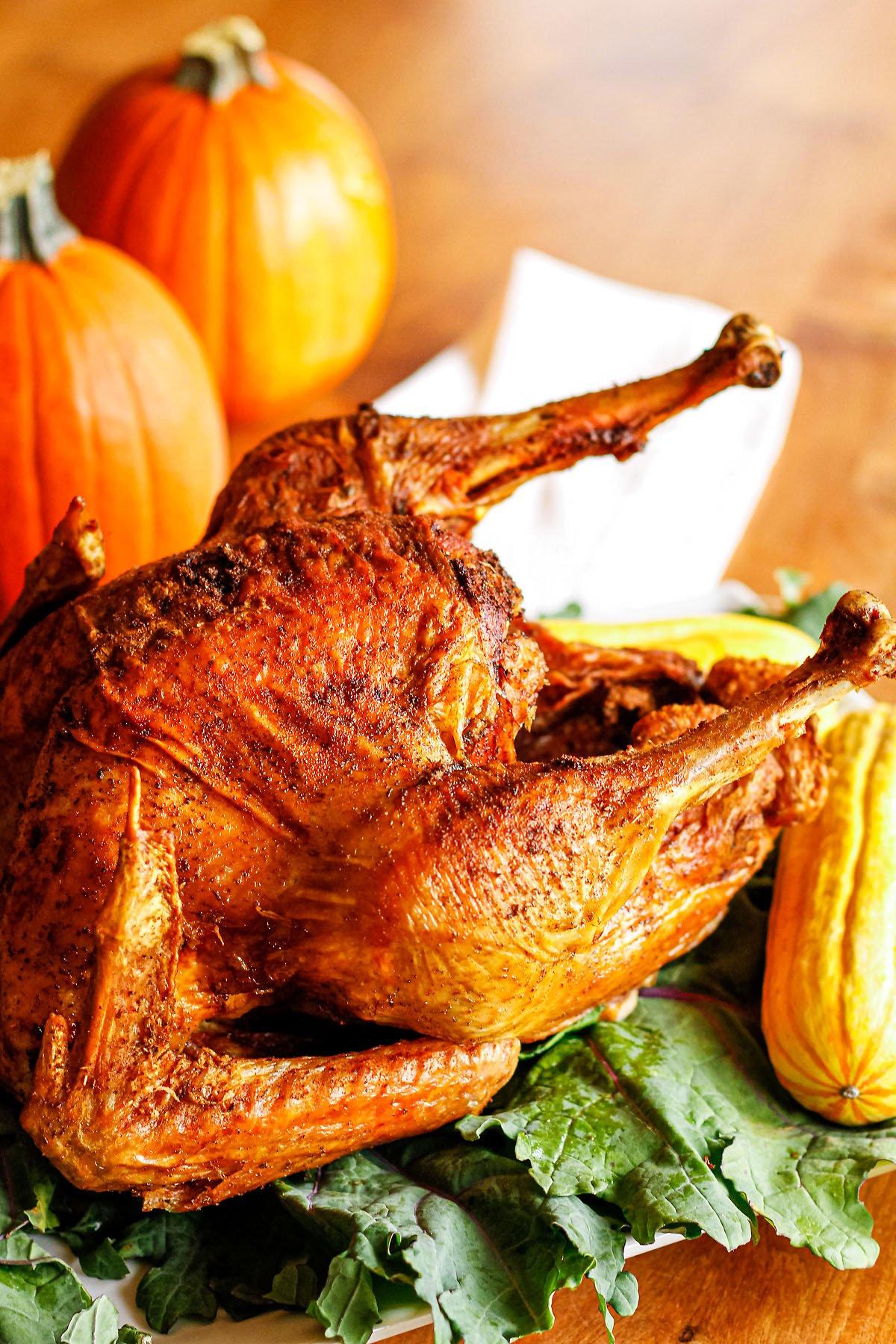 fried turkey recipe made with fried turkey rub + peanut oil