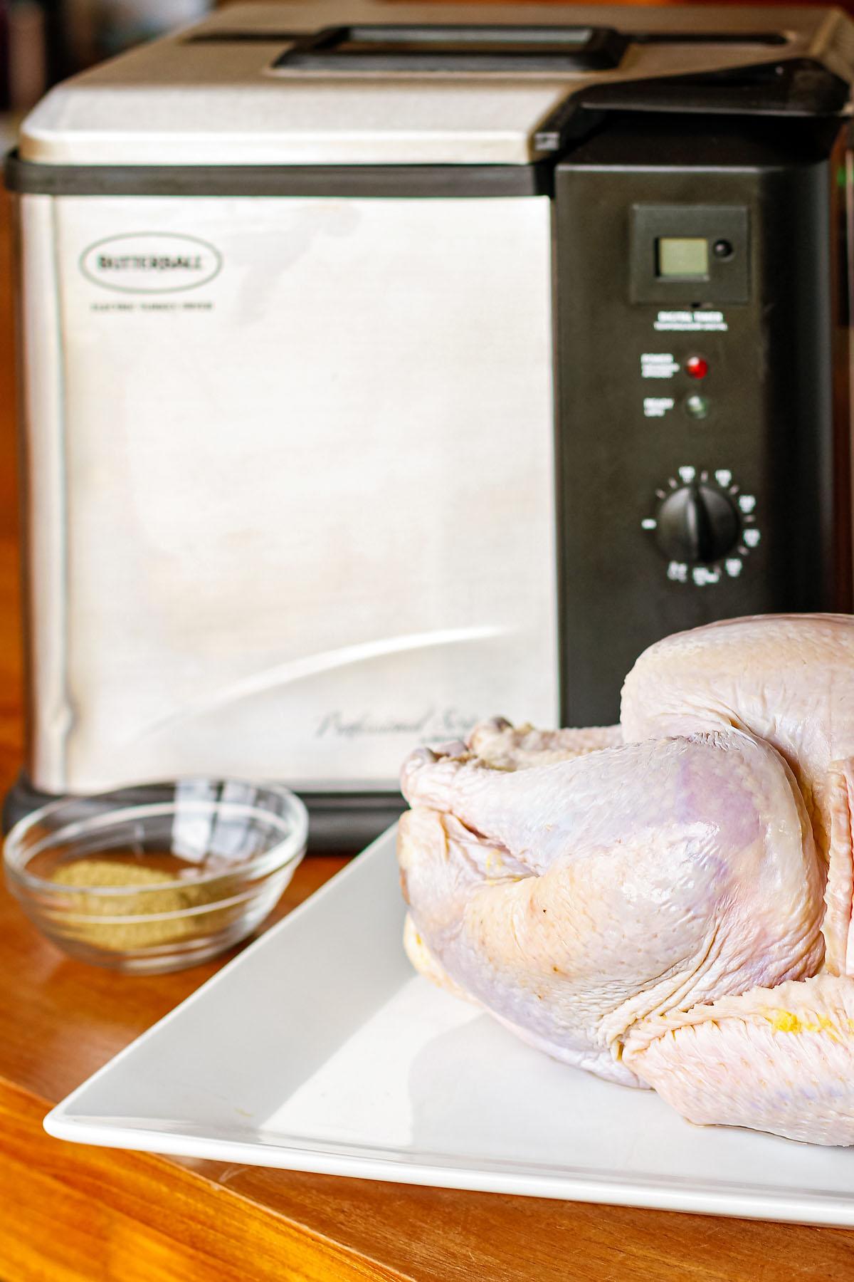 fried turkey in an electric turkey fryer with peanut oil