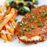 Parmesan-Crusted Chicken with Sweet Potato Fries and Roasted Brussels Sprouts | Easy Weeknight Meal
