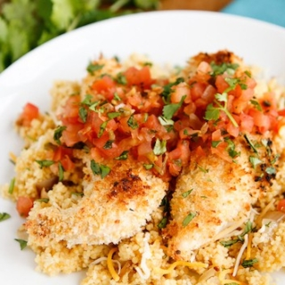 15-Minute Cheesy Couscous with Baked Chicken Tenders
