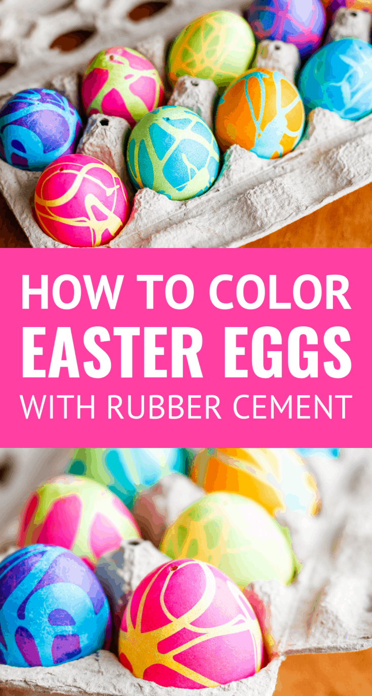 How To Color Easter Eggs with Rubber Cement -- dyeing Easter eggs with gel food colors and this rubber cement technique produces some spectacularly high contrast, gorgeous abstract designs! Use it on blown-out eggs or plastic dyeable eggs to preserve these cool Easter eggs for years to come... | easter eggs diy | easter eggs decorating ideas | easter eggs ideas | easter eggs coloring | easter egg decorating ideas #easter #eastercrafts #eastereggs #easterdiy #eastereggdecorating #easteregghunt
