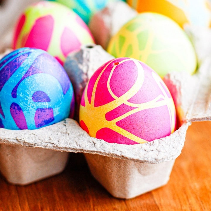 How To Color Easter Eggs With Rubber Cement & Gel Food Coloring