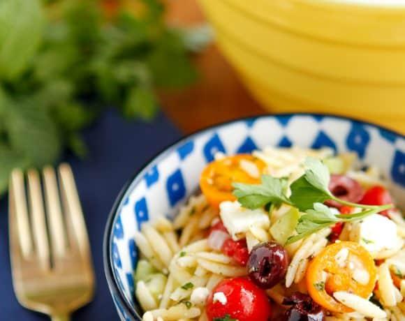 Greek Orzo Pasta Salad with Feta Cheese & Kalamata Olives