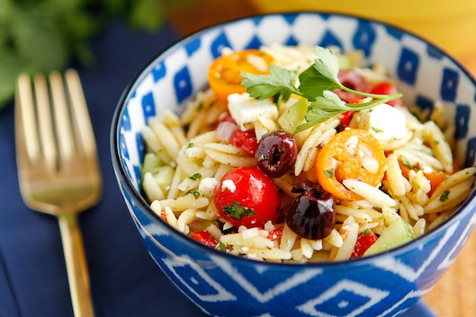 Greek Orzo Pasta Salad with Feta Cheese & Kalamata Olives