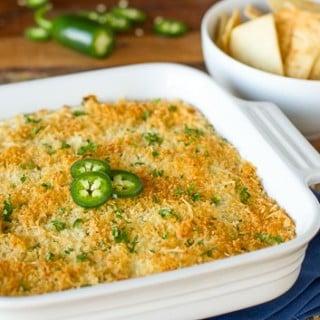 Warm Jalapeño Popper Dip with Pita Chips