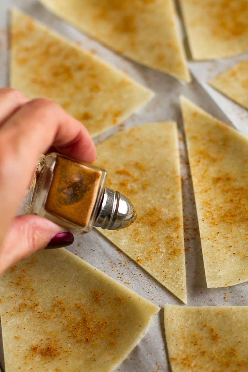 Homemade Tortilla Chips   Season with Chili Powder and Cumin