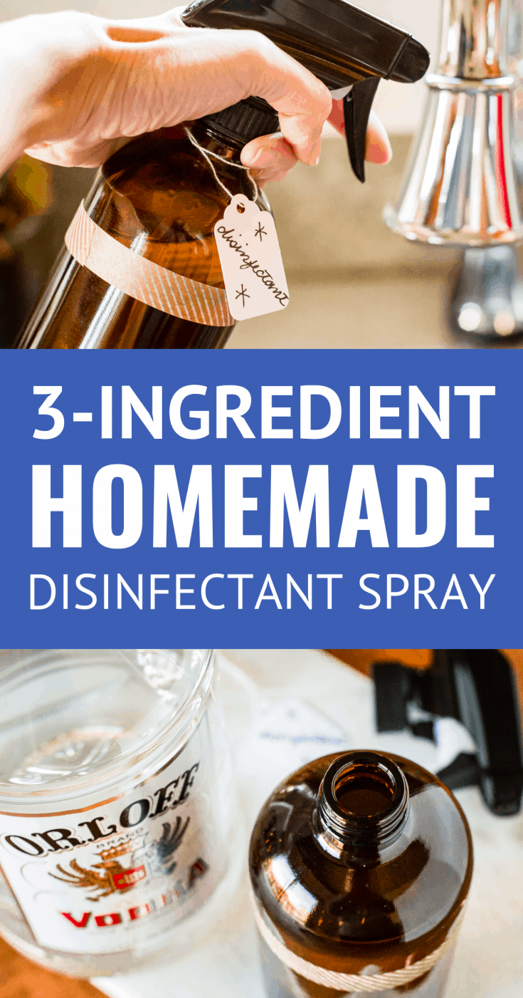 Homemade Disinfectant Spray (3 Ingredients) -- when cold & flu season strikes, reach for this simple 3-ingredient homemade natural disinfectant to keep those nasty viruses at bay in your house! All you need are 80-proof vodka (!!!), distilled water & essential oils... | diy homemade disinfectant spray | how to make homemade disinfectant spray | cleaning ideas | cleaning products | cleaning hacks | cleaning tips | essential oil recipes #cleaning #cleaningtips #essentialoils