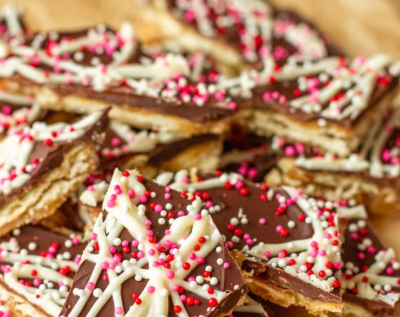 saltine cracker toffee with red, pink, and white sprinkles for Valentine's Day