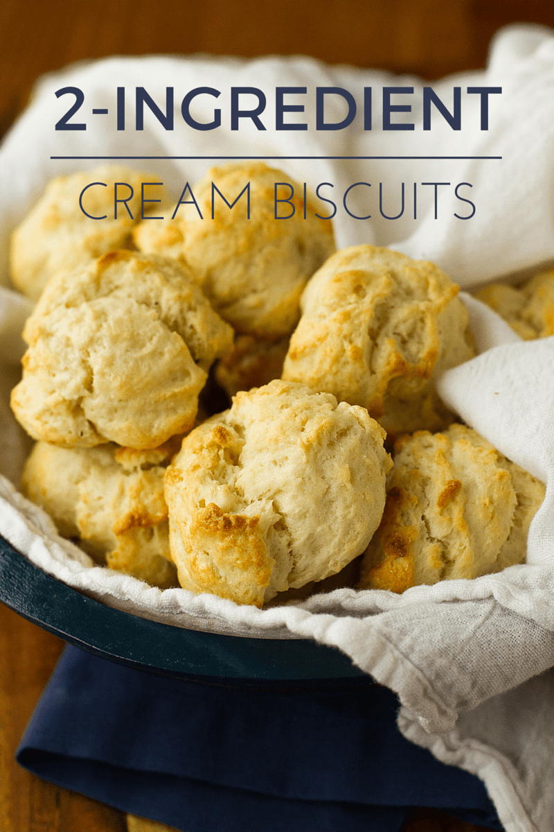 2-Ingredient Cream Biscuits -- these flakey and tender homemade biscuits are totally foolproof… Just two simple ingredients, one dirty bowl, and 15 minutes total to prep and bake! Must try ASAP recipe!!! | via @unsophisticook on unsophisticook.com