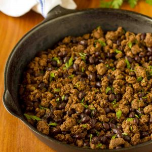 Budget-Friendly Organic Taco Meat Recipe -- homemade taco seasoning, ground beef and black beans combine to create a simple, quick and inexpensive taco meat recipe that's perfect for any recipe that calls for seasoned ground beef. Freezer friendly, too! | unsophisticook.com