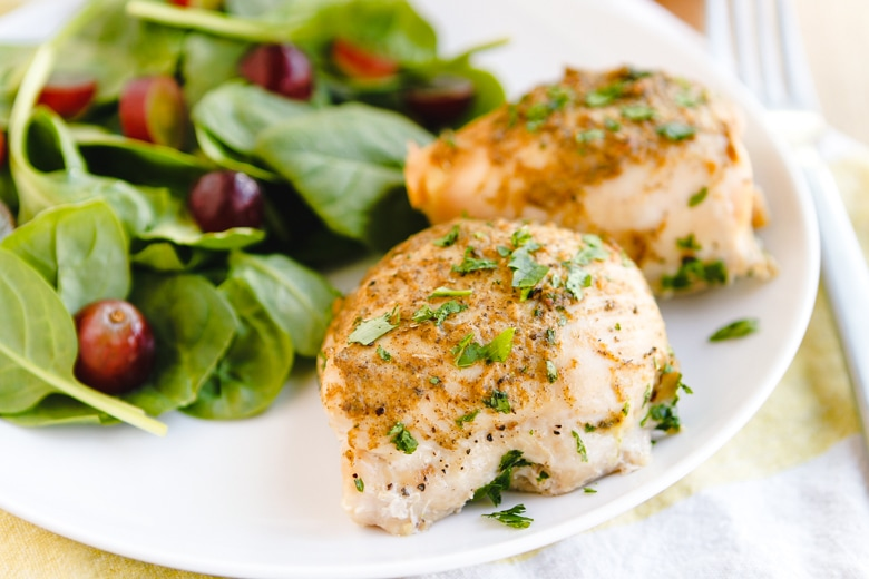baked boneless chicken thighs with simple salad